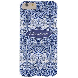Coque Barely There iPhone 6 Plus Monogramme personnalisé par lapin bleu de motif de