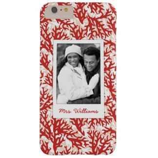 Coque Barely There iPhone 6 Plus Motif | de corail rouge votre photo et nom