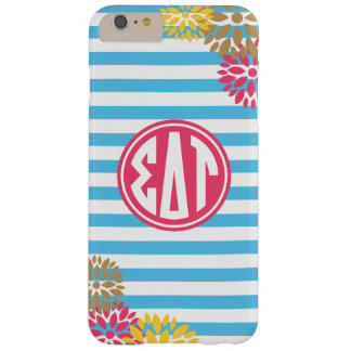 Coque Barely There iPhone 6 Plus Motif de rayure de monogramme de Tau | de delta de