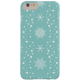 Coque Barely There iPhone 6 Plus Motif drôle de flocons de neige de turquoise