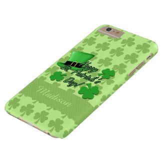 Coque Barely There iPhone 6 Plus Personnalisez St vert Patricks de shamrocks de