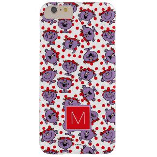 Coque Barely There iPhone 6 Plus Petit monogramme rouge du motif de point de polka