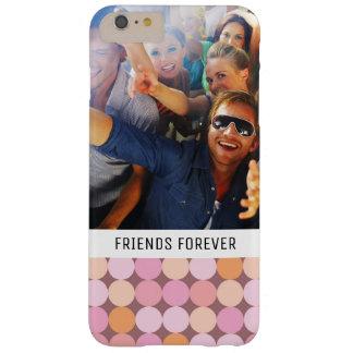 Coque Barely There iPhone 6 Plus Pois rose et orange fait sur commande de photo et