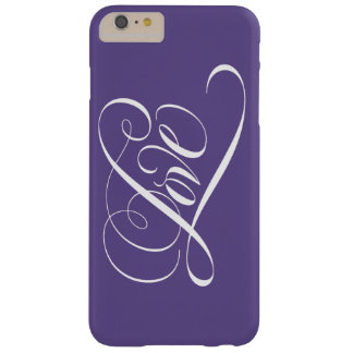 Coque Barely There iPhone 6 Plus Pourpre ultra-violet de calligraphie de coeur