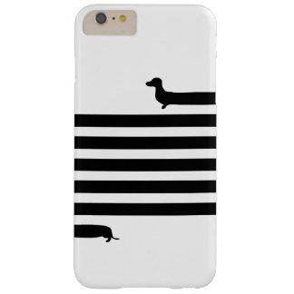 Coque Barely There iPhone 6 Plus Silhouette moderne de teckel - noir sur le blanc