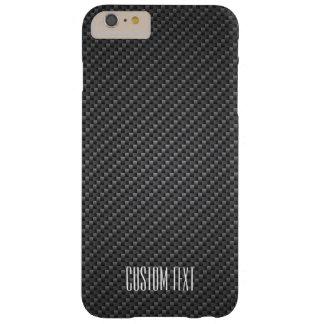 Coque Barely There iPhone 6 Plus Texture de fibre de graphite avec le texte fait