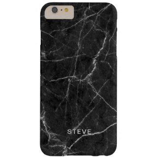 Coque Barely There iPhone 6 Plus Texture de marbre noire avec le nom fait sur