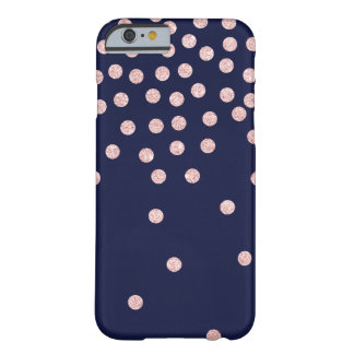 Coque Barely There iPhone 6 pois rose girly de confettis de scintillement d'or