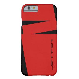 Coque Barely There iPhone 6 rayure rouge et noire de cas de l'iPhone 6 sur la