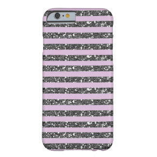 Coque Barely There iPhone 6 Rayures argentées pourpres lilas de parties