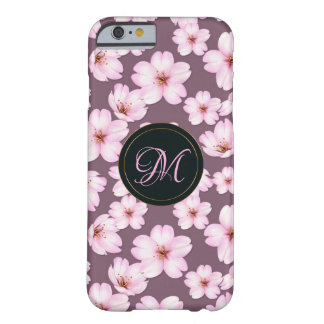 Coque Barely There iPhone 6 Rétro motif pourpre floral.  Monogramme