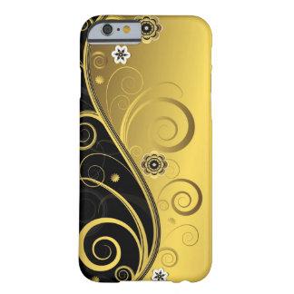 Coque Barely There iPhone 6 Rétro noir élégant et remous floral d'or