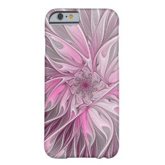 Coque Barely There iPhone 6 Rêve rose de fleur de fractale, motif floral