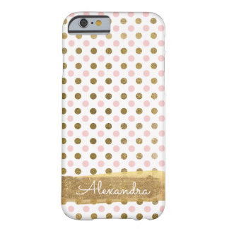 Coque Barely There iPhone 6 Rose, blanc et nom de point de polka de feuille