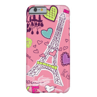 Coque Barely There iPhone 6 Rose de Paris France d'amour de Tour Eiffel