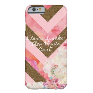 Coque Barely There iPhone 6 Rose des fleurs de la vie et cas de téléphone d'or