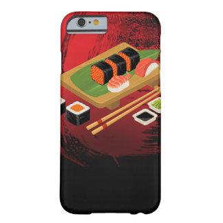 Coque Barely There iPhone 6 Sushi noirs et rouges élégants modernes chics