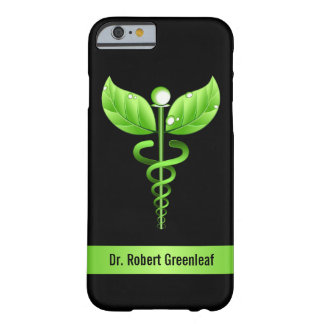 Coque Barely There iPhone 6 Symbole médical de médecine douce verte de caducée