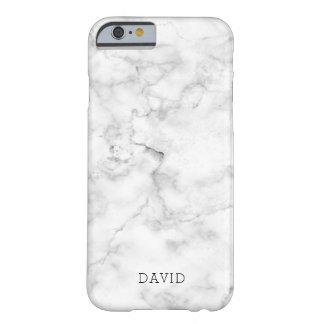 Coque Barely There iPhone 6 Texture de marbre blanche avec le nom fait sur