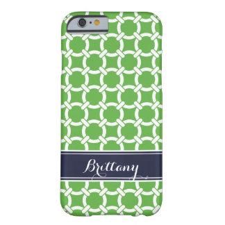 Coque Barely There iPhone 6 Vert et monogramme de très bon goût de liens de