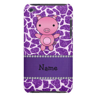 Coque Barely There iPod Copie pourpre personnalisée de girafe de parties