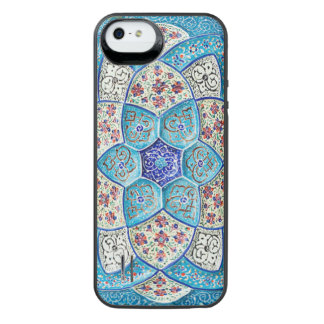 Coque Batterie Pour iPhone SE/5/5s Bleu de turquoise marocain traditionnel, blanc,