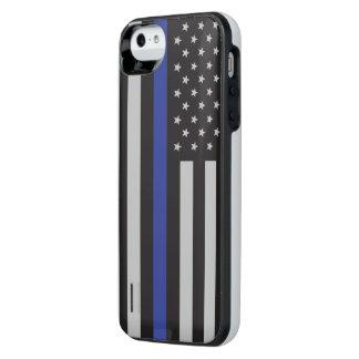 Coque Batterie Pour iPhone SE/5/5s Soutenez le drapeau américain mince de Blue Line
