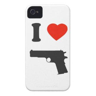 "Coque Blackberry ""I love gun"" (blanc)"