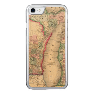 Coque Carved iPhone 8/7 Carte du Michigan, le Wisconsin par Mitchell