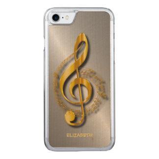 Coque Carved iPhone 8/7 Clef triple d'or avec des notes et des ombres