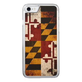 Coque Carved iPhone 8/7 Drapeau grunge noir d'état du Maryland