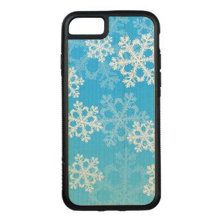 Coque Carved iPhone 8/7 Flocons de neige mignons de Noël bleu et blanc