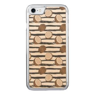 Coque Carved iPhone 8/7 Noix de coco sur le motif grunge de rayures
