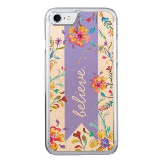Coque Carved iPhone 8/7 Pourpre d'inspiration de fleur sauvage