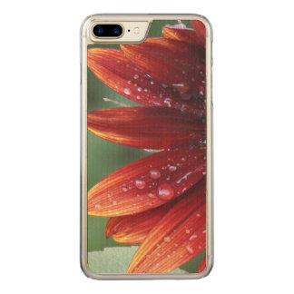 Coque Carved iPhone 8 Plus/7 Plus Baisses rouges de pétales et de pluie de tournesol
