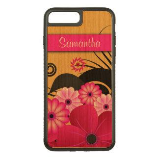 Coque Carved iPhone 8 Plus/7 Plus Belle ketmie florale fuchsia moderne en bois