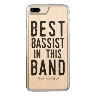 Coque Carved iPhone 8 Plus/7 Plus Le meilleur bassiste (probablement) (noir)