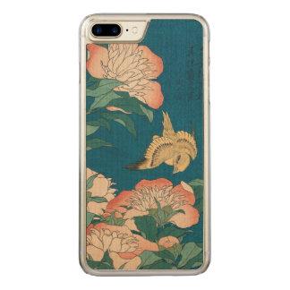 Coque Carved iPhone 8 Plus/7 Plus Pivoines vintages et art jaune canari de Hokusai