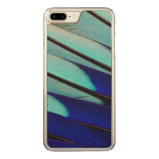 Coque Carved iPhone 8 Plus/7 Plus plumes Bleu-gonflées de rouleau