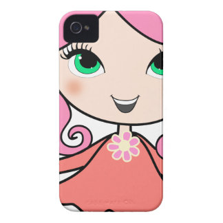 Coque Case-Mate iPhone 4 Art rose de bande dessinée de fille de cheveux