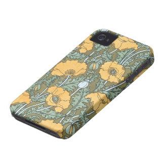 Coque Case-Mate iPhone 4 Art vintage Nouveau, fleurs de pavot dans le