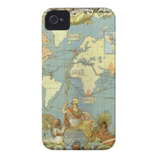 Coque Case-Mate iPhone 4 Carte antique du monde de l'Empire Britannique,