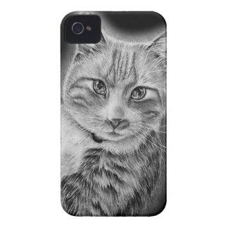 Coque Case-Mate iPhone 4 Dessin d'art animal noir et blanc de chat