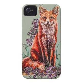 Coque Case-Mate iPhone 4 Dessin d'art animal rouge et de lis de Fox