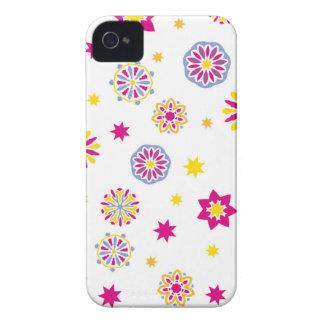 Coque Case-Mate iPhone 4 Fleurs roses, jaunes et bleues abstraites colorées