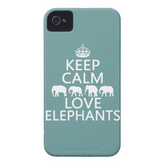 Coque Case-Mate iPhone 4 Gardez le calme et aimez les éléphants (les