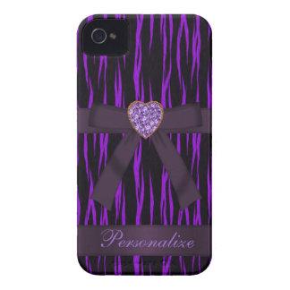 Coque Case-Mate iPhone 4 iPhone pourpre et noir 4 d'arc et de Bling de
