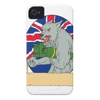 Coque Case-Mate iPhone 4 Loup gris tenant le dessin d'Union Jack de bombe