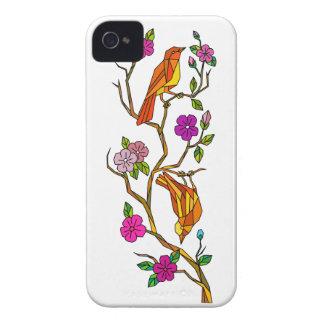 Coque Case-Mate iPhone 4 Oiseau sur le bas polygone de fleurs de cerisier