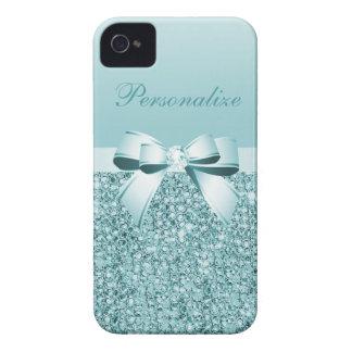 Coque Case-Mate iPhone 4 Paillettes, arc et diamant bleus turquoises